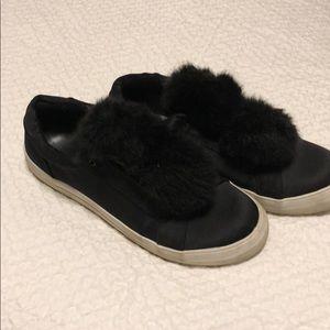 Black shoes with faux fur balls